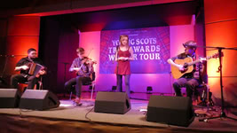 Paddy Callaghan, Charlie Stewart, Iona Fyfe and Luc McNally at the Young Scots Trad Awards Winner Tour in Syke, Germany, on 09.02.2019; photo Roland Wolter